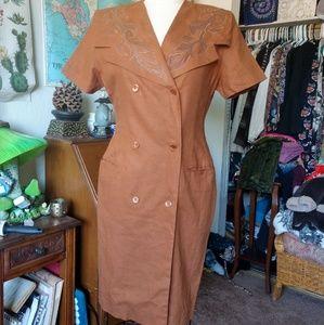 80's VINTAGE Brow Linen Button Front Busines Dress